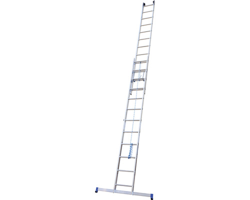 WERNER Seilzugleiter 2-teilig 2 x 12 Sprossen Aluminium Länge 3,45 - 5,95 m