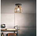 Deckenleuchte Holz Metall 1-flammig Matrix Nature antik holz/ schwarz korund HxØ 250x250 mm