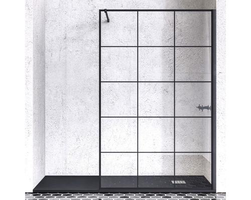 Walk In Doccia 140 cm Echtglas Dekor Industrie Design Profilfarbe schwarz MINDBK14015