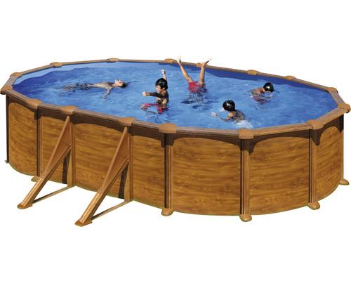 Aufstellpool Stahlwandpool-Set Solo oval 610x375x132 cm inkl. Einbauskimmer Holzoptik