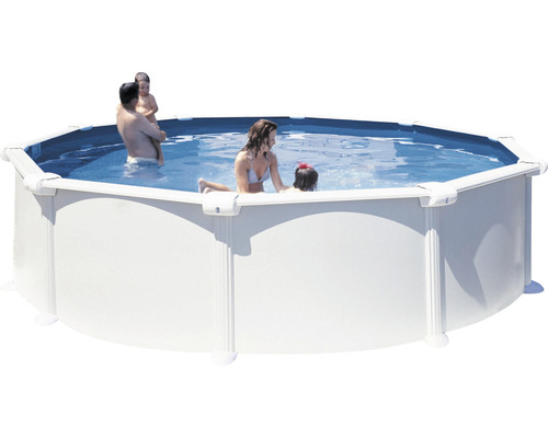 Aufstellpool Stahlwandpool-Set Vision-Pool Classic rund Ø 460x120 cm inkl. Kartuschenfilteranlage, Einbauskimmer & Leiter weiß