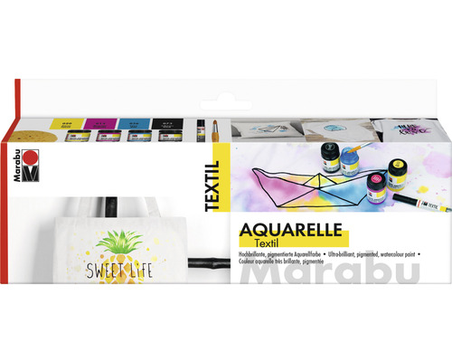 Marabu Textil Aquarelle Starter-Set 4x 15ml
