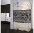 Drehtür inkl. Seitenwand Doccia 80x120 cm Echtglas Dekor Coral Profilfarbe schwarz SURIBK128035