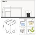 Pflanzkübel Lechuza Cube 30 Komplettset schwarz inkl. Erdbewässerungsystem Pflanzeinsatz Substrat Wasserstandsanzeiger