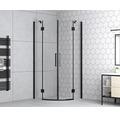 Runddusche basano Romallo black R550 90 x 90 cm Klarglas Profilfarbe matt schwarz