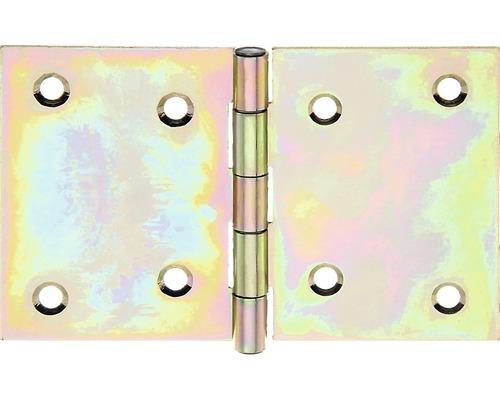 Scharnier breit mit vernietetem Messingstift, 81 x 126 mm, Galv. gelb verzinkt