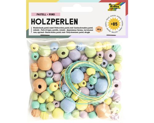 Holzperlen pastell rund
