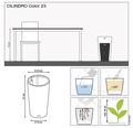 Pflanzvase Lechuza Cilindro Color Ø 23 cm H 41 cm Kunststoff grau inkl. Erdbewässerungsystem, Pflanzeinsatz, Substrat und Wasserstandsanzeiger