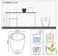 Blumentopf Lechuza Classico LS Ø 21 x H 20 cm taupe inkl. Erdbewässerungsystem Pflanzeinsatz Substrat Wasserstandsanzeiger
