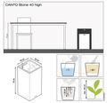 Pflanzvase Lechuza Canto Stone 40 x 40 x H 76 cm grau inkl. Erdbewässerungsystem Pflanzeinsatz Substrat Wasserstandsanzeiger