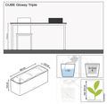 Blumenkasten Lechuza Glossy Triple Kunststoff 40x14x14 cm anthrazit inkl. Erdbewässerungsystem und Pflanzeinsatz