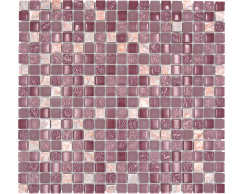 Glasmosaik mit Naturstein XCM M940 30,5x32,2 cm mix rosa