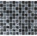 Glasmosaik mit Naturstein CM M462 30,2x32,7 cm schwarz