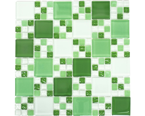 Glasmosaik XCM 8570 30,5x32,5 cm grün/weiß