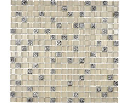 Glasmosaik mit Naturstein XCM M950 30,5x32,2 cm champagne