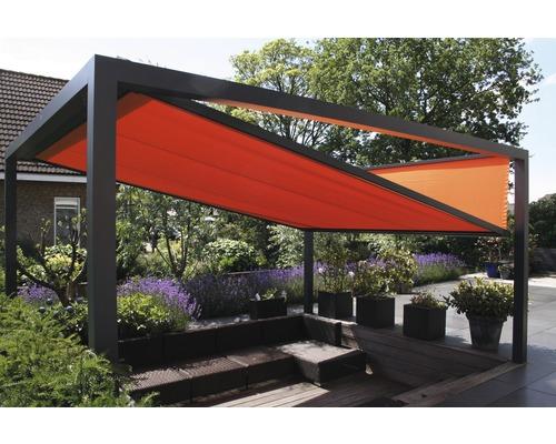 Pavillon GroJa Cube freistehend mit Funksteuerung 350 x 400 cm anthrazit-orange