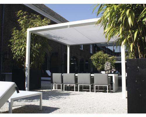 Pavillon GroJa Cube freistehend mit Funksteuerung 350 x 400 cm weiß