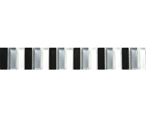 Glasbordüre Stäbchen schwarz-grau-weiß