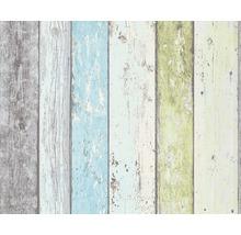 Vliestapete 8550-77 New England 2 / Wood`n & Stone Bretterzaun blau/grün