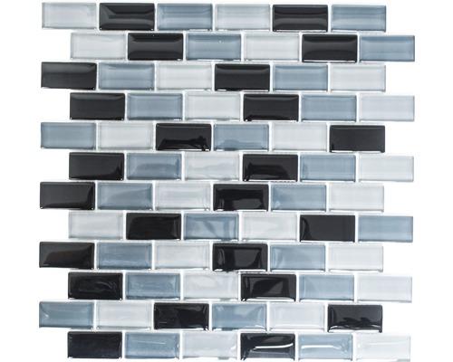 Glasmosaik XCM B899 32,2x31 cm grau/schwarz