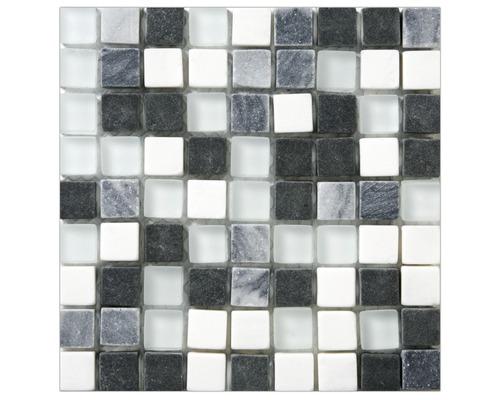 Glasmosaik marmor 30x30 cm weiß/grau/schwarz