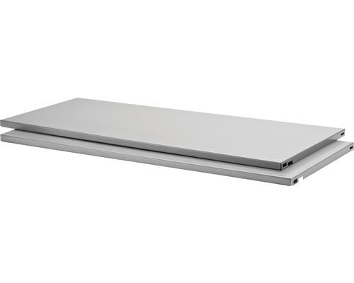 Stahlfachboden B 800 x T 300 mm silber, 2 Stück