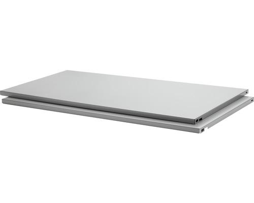 Stahlfachboden B 800 x T 400 mm silber, 2 Stück
