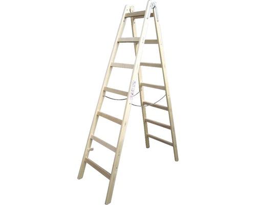 Sprossenstehleiter Holz Riedel, 2x 7 Stufen