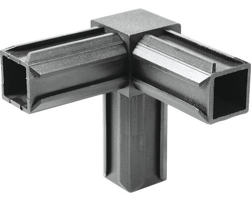 XD-Rohrverbinder 90° mit rechwinkeligem Abgang für Vierkantrohre 20x20x1,5 mm Kunststoff schwarz