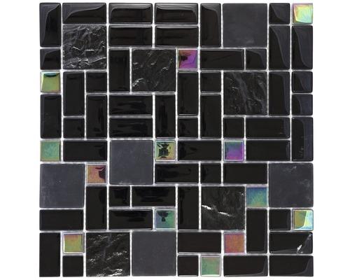 Glasmosaik Regenbogen schwarz 30x30 cm