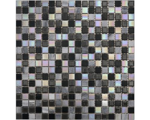 Glasmosaaik Perlmut black grey 30x30 cm