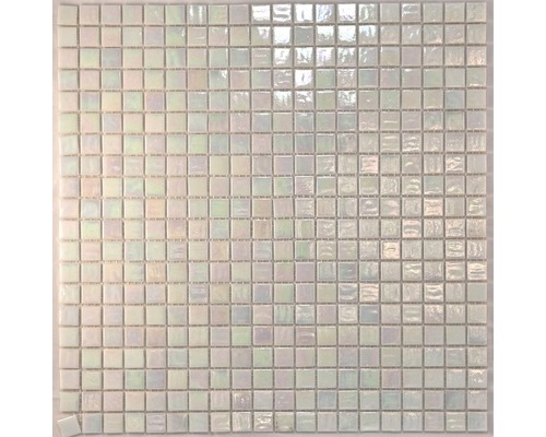 Glasmosaik perlmutt weiß