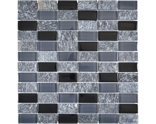 Glasmosaik mit Naturstein grau schwarz 31x32,2 cm
