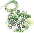 Perlen-Set mit Kordel grün-weiß