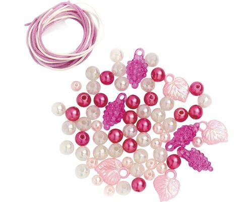 Perlen-Set mit Kordel weiß-rosa-pink
