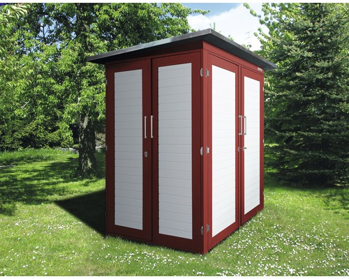 Gartenschrank weka Kompakt Q 200x125x217 cm rot-weiß