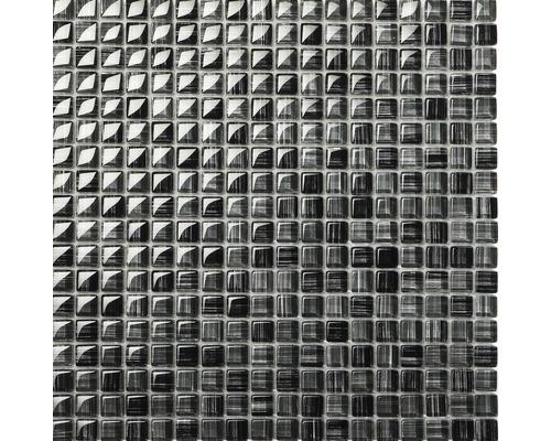 Glasmosaik Schwarz grau liniert 30x30 cm