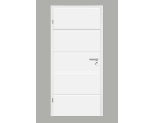 Zimmertür Pertura Perla 05 Weißlack 86,0x198,5 cm Links
