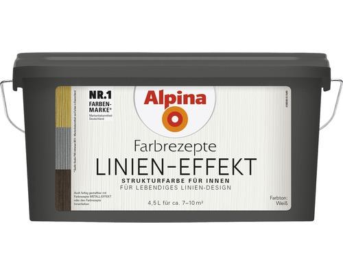 Alpina Effektfarbe Farbrezepte Linien Effekt weiß 4,5 l