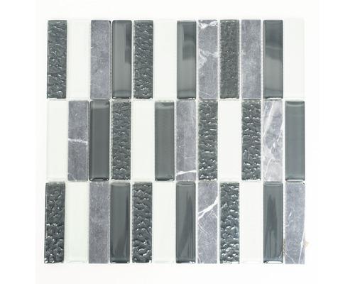 Glasmosaik mit Naturstein XCM MS826 2,5x10 cm