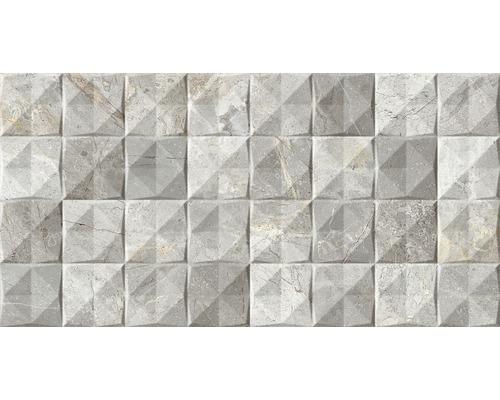 Steingut Dekorfliese Tiffany Grau 34 x 67 cm