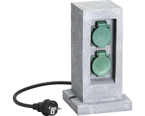 Gartensteckdose 2-fach IP44 Steinoptik mit Zeitschaltuhr grau H 310 mm