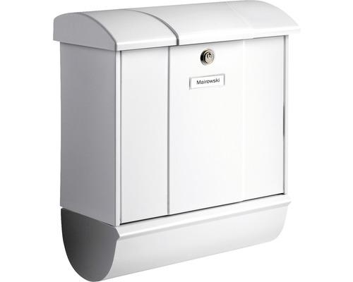 Burg Wächter Briefkasten-Set Metall verzinkt BxHxT 385/445/193 mm Olymp 91600 weiß mit Klappe Zeitungsbox Öffnungsstopp