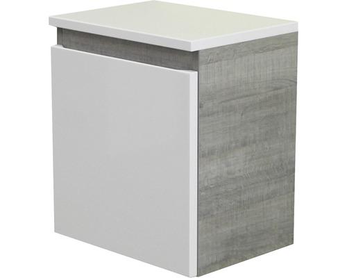 Unterschrank FACKELMANN Piuro Breite 40,5 cm weiß hochglanz graueiche zerlegt