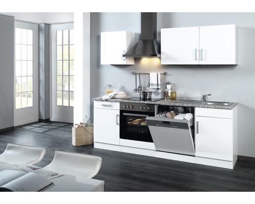 Küchenzeile Held Möbel Varel Weiß hochglanz 220 cm inkl. Einbaugeräte