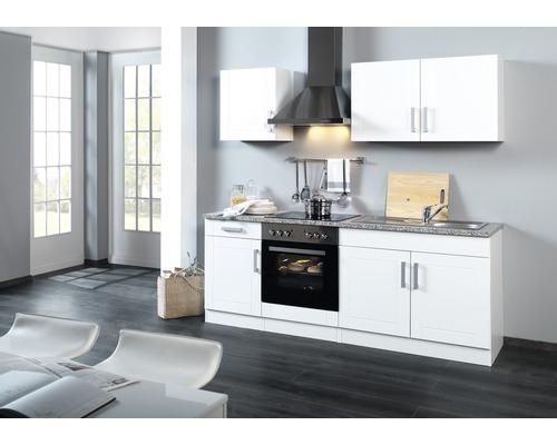 Küchenzeile Held Möbel Varel Weiß hochglanz 210 cm inkl. Einbaugeräte