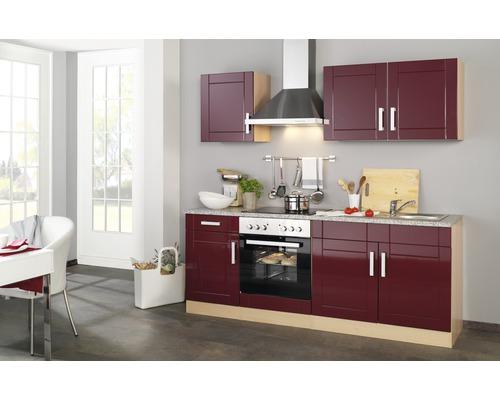 Küchenzeile Held Möbel Varel Rot 210 cm inkl. Einbaugeräte
