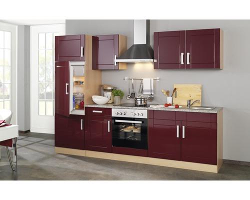 Küchenzeile Held Möbel Varel Rot 270 cm inkl. Einbaugeräte
