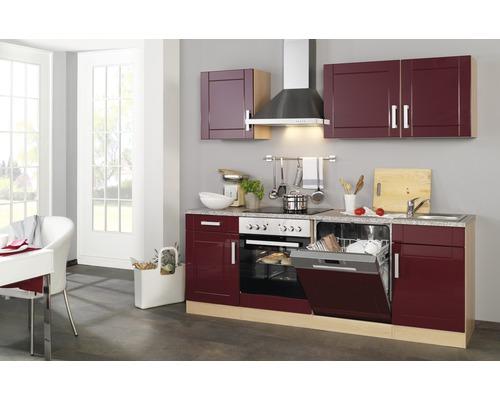 Küchenzeile Held Möbel Varel Rot 220 cm inkl. Einbaugeräte