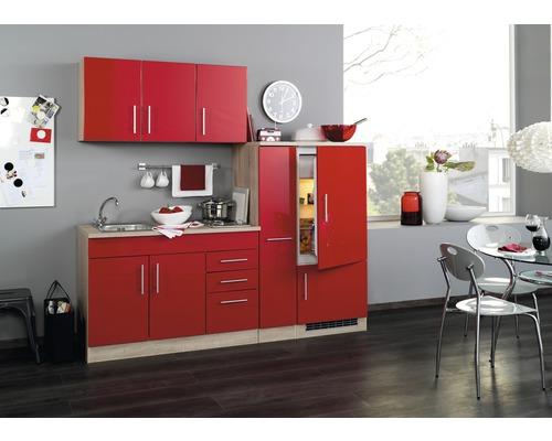 Küchenzeile Held Möbel Toronto Rot 210 cm inkl. Einbaugeräte